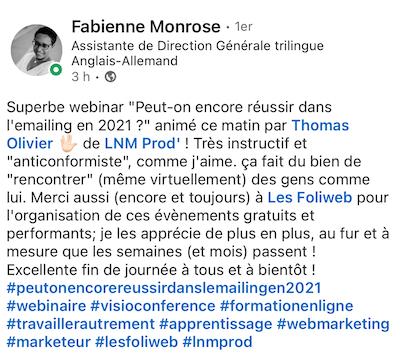 avis de Fabienne sur le marketeur Thomas OLIVIER